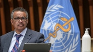 World Health Organization (WHO) Director-General Tedros Adhanom Ghebreyesus attends a news conference in Geneva.