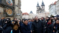 FILE - In this file photo taken Monday, Jan. 13, 2020, mayor of Prague Zdenek Hrib, left, and Taipei city mayor Ko Wen-je shake…
