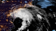 This GOES-16 satellite image taken at 9:30 UTC (5:30 a.m. EDT), July 10, 2020 shows Tropical Storm Fay as it moves closer to land in the northeast of the United States.