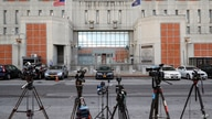 Media outlets set up cameras outside the main entrance of the Metropolitan Detention Center, Brooklyn where British socialite Ghislaine Maxwell is held, Tuesday, July 14, 2020, in New York.