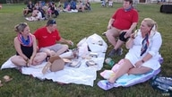 Anne Hooper and her family enjoy a picnic while waiting for fireworks to begin at Mount Vernon in Alexandria, Virginia, the hist