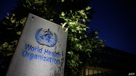 A photo taken in the late hours of May 29, 2020 shows a sign of the World Health Organization (WHO) at their headquarters in…