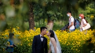 FILE - People wearing face masks pass by newlyweds kissing as they pose for wedding photos.