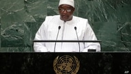 Gambia's President Adama Barrow addresses the 73rd session of the United Nations General Assembly, Sept. 25, 2018, at the United Nations headquarters.