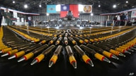 Bullets are lined up in front of a U.S. made F-16V fighters during a military exercise in Chiayi County, southern of Taiwan,…