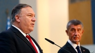 U.S. Secretary of State Mike Pompeo, left, and the Prime Minister of Czech Republic Andrej Babis, right, address the media…