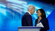 FILE - Democratic presidential candidates former Vice President Joe Biden, left, and Sen. Kamala Harris, D-Calif. shake hands, Sept. 12, 2019, after a Democratic presidential primary debate hosted by ABC at Texas Southern University in Houston.