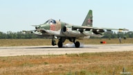A Su-25 fighter jet, which took part in the Russian mission in Syria, lands at a military airport in Krasnodar Region, Russia…