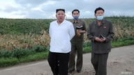North Korean leader Kim Jong Un inspects the typhoon-damaged area in South Hwanghae Province, North Korea.