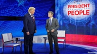 U.S. President Donald Trump takes the stage with ABC News chief anchor George Stephanopoulos for a town hall event in…