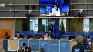 Belarusian opposition leader Sviatlana Tsikhanouskaya speaks to the members of the European Parliament's Foreign Affairs…