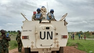 Peacekeepers from the United Nations Mission in the Republic of South Sudan (UNMISS) provide security during a visit of UNCHR…