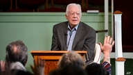 Former U.S. President Jimmy Carter teaches Sunday school at Maranatha Baptist Church, Sunday, Nov. 3, 2019, in Plains, Ga. (AP…