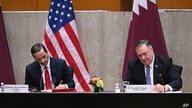 Secretary of State Mike Pompeo and Qatar's Deputy Prime Minister Mohammed bin Abdulrahman Al Thani sign a memorandum of…