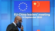 European Council President Charles Michel arrives for an online press conference with European Commission President Ursula von…