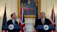 Secretary of State Mike Pompeo speaks at a news conference with British Foreign Secretary Dominic Raab at the State Department…