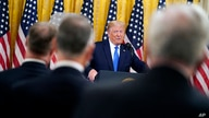 President Donald Trump speaks during an event to honor Bay of Pigs veterans, in the East Room of the White House, Wednesday,…