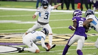 Tennessee Titans kicker Stephen Gostkowski (3) kicks a 55-yard field goal during the second half of an NFL football game…