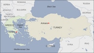 Map of Turkey and Greece, showing the capitals of Ankara and Athens, respectively