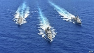 FILE - A handout photo released by the Greek National Defense Ministry Aug. 26, 2020, shows ships of the Hellenic Navy taking part in a military exercise in the eastern Mediterranean Sea, Aug. 25, 2020.