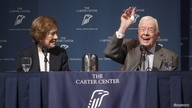 "Former U.S. President Jimmy Carter gestures as he answers questions during ""A Conversation with the Carters,"""