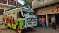 This van mounted with a loudspeaker helps a teacher take a lesson from the street in Kanwarsika village. (Anjana Pasricha/VOA)