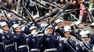 The military honor guard performs during the National Day celebrations in Taipei, Taiwan, Saturday, Oct. 10, 2020.  Oct. 10…