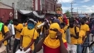 Money transfer employees and owners protest new regulation measures in Port au Prince, Haiti. (Matiado Vilme/VOA)