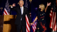 Democratic 2020 U.S. presidential nominee Joe Biden and his wife Jill wave to the crowd after speaking at his election rally.