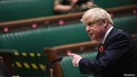 Britain's Prime Minister Boris Johnson speaks during the weekly question-time debate at the House of Commons in London, Britain, Nov. 11, 2020.