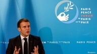 French President Emmanuel Macron gestures as he speaks during The Paris Peace Forum at The Elysee Palace in Paris, France…