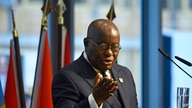 """FILE - In this Nov. 19, 2019, file photo, Ghana's President Nana Akufo-Addo addresses participants of the """"G20 Investment…"""