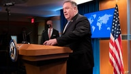 Secretary of State Mike Pompeo arrives to speak during a media briefing, Tuesday, Nov. 10, 2020, at the State Department in…