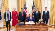Indonesian Coordinating Minister for Maritime Affairs and Investment Luhut Binsar Pandjaitan and Indonesian Ambassador to the U.S. Muhammad Lutfi met with President Donald Trump, Nov. 17, 2020.