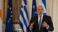Greek Foreign Minister Nikos Dendias speaks during a join news conference with Israel's counterpart Gabi Ashkenazi and Cypriot Foreign Minister Nikos Christodoulides in Athens, Oct. 27, 2020.