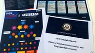 FILE - Pages related to Russia's disinformation campaign are seen in the U.S. State Department's Global Engagement Center report released Aug. 5, 2020.