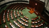 The Legislative Council chamber is seen after four lawmakers were disqualified when Beijing passed a new dissent resolution, in Hong Kong, Nov. 11, 2020.