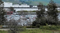 FILE - Parking lots appear full at Tesla Inc's Fremont, California factory, in the U.S. March 18, 2020.