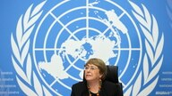 U.N. High Commissioner for Human Rights Michelle Bachelet attends a news conference at the European headquarters of the United Nations in Geneva, Switzerland, Dec. 9, 2020.