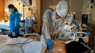 FILE - Dr. Rafik Abdou checks on a COVID-19 patient at Providence Holy Cross Medical Center.