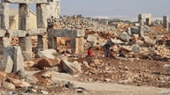 A view shows the remains of a monastery and churches dating back to the Byzantine period in Serjable near the village of Kafr Lusin in northwestern Syria, close to the Turkish border, Nov. 28, 2020.