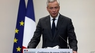 French Economy and Finance Minister Bruno Le Maire speaks during a  press conference in Paris on January 14, 2021, on the…