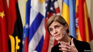 United States Ambassador to the United Nations Samantha Power addresses media following a United Nations Security Council vote,…