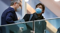 Lothar Wieler, the head of Germany's Robert Koch Institute (RKI) for disease control, and Director of the Institute for Virology at the Charite Christian Drosten leave after a news conference, amid the spread of  COVID-19, in Berlin, Jan. 22, 2021.