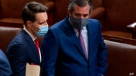 Sen. Josh Hawley, R-Mo., left, and Sen. Ted Cruz, R-Texas, right, speak after Republicans objected to certifying the Electoral…