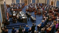 In this image from video, Sen. Patrick Leahy, D-Vt., the president pro tempore of the Senate, swears in senators.