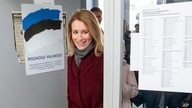 FILE - Chairwoman of the Reform Party Kaja Kallas arrives at a polling station during parliamentary elections in Tallinn, Estonia, March 3, 2019.