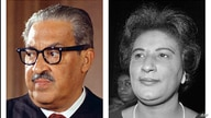 This combo of file photos from Washington show Supreme Court Associate Justice Thurgood Marshall, Oct. 24, 1967; and Constance Baker Motley, nominated to be judge of the southern district of New York, at her confirmation hearing, April 4, 1966.