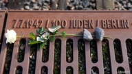 A rose is placed at the Gleis 17 (Platform 17) memorial, a platform at Berlin-Grunewald train station from where Jewish citizens were deported by train to the Nazi concentration camps between 1941 and 1945, in Berlin, Germany, Jan. 27, 2021.