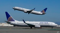 FILE - In this Oct. 15, 2020, file photo, a United Airlines airplane takes off over another United plane on the runway at San…